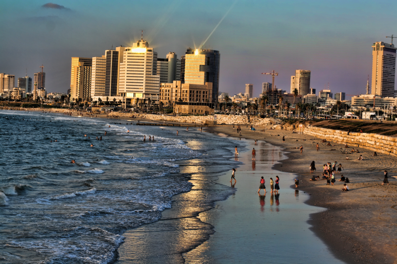 End of a sunny Tel Aviv day